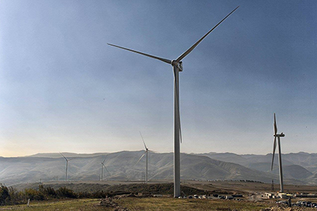 Georgia's first wind power plant, built in Gori, Shida Kartli region